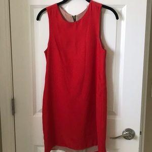 NAVEN red silk shift dress
